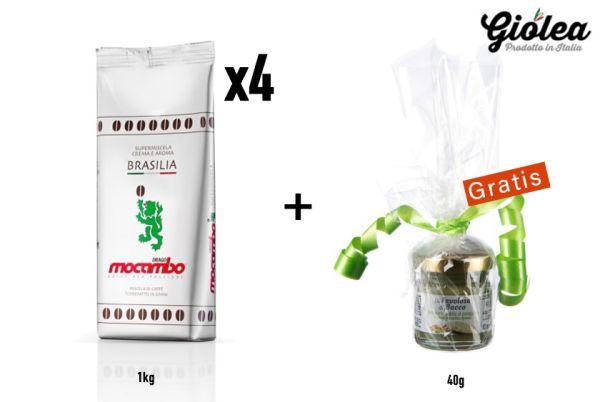 Vorratspack 4 x 1kg Packung Mocambo Kaffeebohnen Silber Brasilia