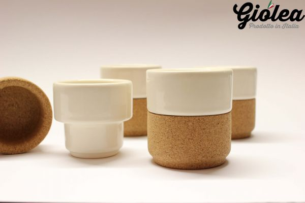"""Espresso Tassen """"The Whistler"""" aus Keramik mit Korkfassung 4er Set"""