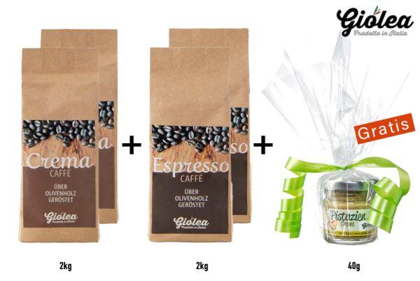Vorratspack Kaffeebohnen 2 x 1 Kg Caffè Crema + 2 x 1 Kg Caffè Espresso - Giolea