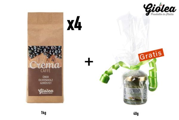 """Caffé """"Crema"""" Vorratspack 4 x 1 Kg Kaffeebohnen - Giolea"""