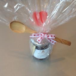 Kirschen Konfitüre + Marmeladen Löffel aus Olivenholz als Valentisspecial (15% Rabatt)